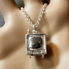 SILVER second hand old TV set pendant & chain
