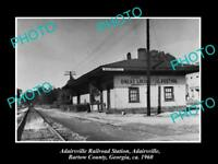 OLD LARGE HISTORIC PHOTO OF ADAIRSVILLE GEORGIA, THE RAILROAD DEPOT STATION 1960