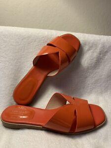 $140 NEW Kate Spade Sz 7 Orange Patent Leather Slip-On Flat Sandals Slides Shoes