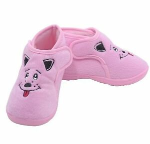 Little Girls Slippers Soft Pink Puppy Dog with Rubber Soles Little Girls Size 12