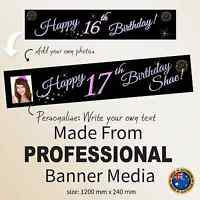 Personalised 16th Sweet Sixteen Birthday Decorations LARGE Canvas Party Banner