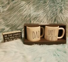 "New Rae Dunn by Magenta Artisan Mug Set ""Dad"" & ""Dad's Favorite"" NIB"