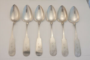 Set of 6 Coin Silver Serving Spoons - Franklin Richmond, Providence RI