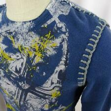 Affliction Archaic Thermal Shirt Men Sz S Waffle Long Sleeve Cross Gothic Blue