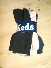 Keds 3 Pairs Plain Ribbed Socks UK 7-8.5 EU24-26 Black/Navy/Beige BNWT