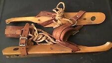 Antique Dutch Friese Schaats Wooden With Metal Blade & Leather Strap Ice Skates