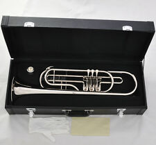 Professional New Rotary Valves Bass Trumpet Bb Silver nickel horn Leather case