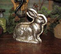 Primitive Antique Vtg Tin Style Bunny Rabbit Silver Resin Faux Chocolate Mold