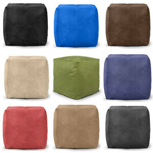 Faux Suede Bean Bag Pouffe Seat Foot Rest Soft Living Room Filled **Large Cube**