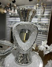 Silver Heart Vase Romany Mirrored Blingy Mosaic  Italian 40CM Home Decor UK✨