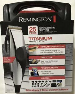 Remington HC822A Titanium Coated Blades 25 Piece Chrome Hair Clipper Set 8 Combs