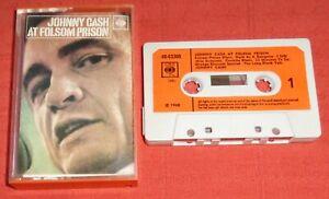 JOHNNY CASH - UK FIRST ISSUE CASSETTE TAPE - AT FOLSOM PRISON - PAPER LABELS