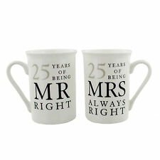 25th Anniversary Gift Set of 2 China Mugs 'mr Right & Mrs Always Right'