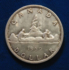 CANADIAN AU-BU 1959 real silver dollar Queen Elizabeth II light original toning