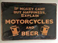 Motorcycles & Beer Tin Sign (Indian Harley Yamaha Suzuki Honda Bmw Norton Bsa )