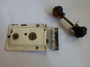 Reclaimed Vintage Rim Lock with 2 Toned Wooden Door knobs No Keys #IM1345