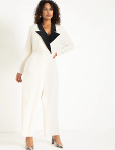 NWT ELOQUII 2021 ivory tuxedo satin dress jumpsuit wedding 20w