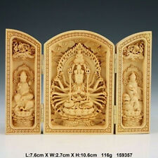 Oriental Vintage Boxwood Handwork Carved Buddha Statue NAA051