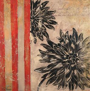Giclee Canvas Painting 70x70cms Fabrice de Villeneuve 'Writing in Flowers' Decor