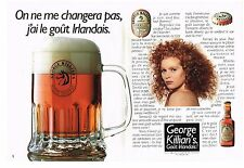 PUBLICITE ADVERTISING  1990   GEORGE KILLIAN'S  bière  rousse Irlandaise (2 p