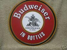 Budweiser In Bottles Round Advertising Tin Metal Sign Anheuser Busch