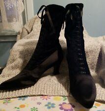 STUART WEITZMAN black velvet heel ankle booties boot 10 cling ribbon pointed toe