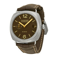 Panerai Radiomir 8 Days Brown Dial Brown Leather Mens Watch PAM00346