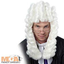 Judge White Wig Mens Ladies Fancy Dress Barristers Laywer Court Adut Costume Acc