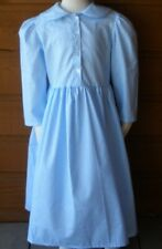 Girl Prairie Pioneer Dress with collar light blue calico cotton size 7