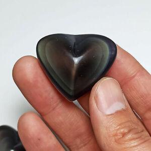 Natural Rainbow Obsidian Heart Shaped Palmstone Quartz Crystal Healing Polished