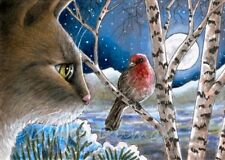 ACEO art print Cat 600 winter bird from original painting L.Dumas