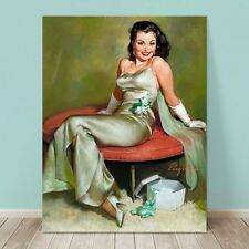 "VINTAGE Pin-up Girl CANVAS PRINT Gil Elvgren  36x24"" Captivating"