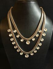 Crystal Double String Silver Choker Statement Necklace-Indian Wedding Accessory