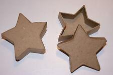 Roh - Schachtel 2er Set Stern Pappmaché Box zum bemalen bekleben basteln