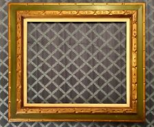 "Large Carved Gilt Wood & Linen Picture Frame 32 in. X 29 in.~ 24"" x 20"" opening"