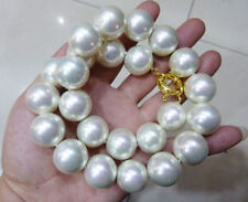 """Rare Huge 20mm White South Sea Shell Pearl Round Beads Necklace 18"""" JN1766"""