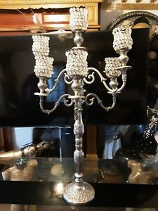 LARGE Beautiful Floor standing candle holder crystal Candelabra.