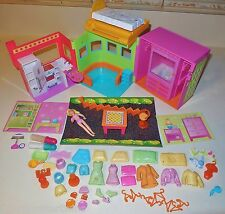 FASHION POLLY POCKET COMPACT GLITTER APARTMENT ROOM HOUSE CASE FIGURES DOLLS LOT