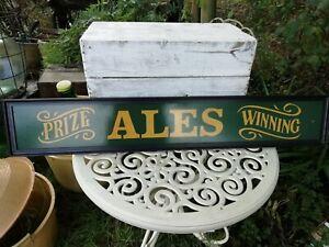 Genuine Real Ale Vintage Greene King Wooden Bar Pub Wall Sign Plaque 110cm