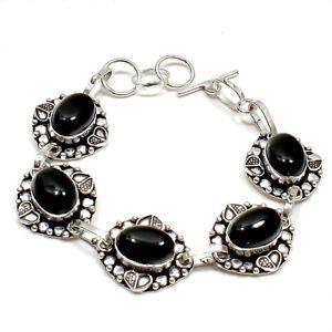 "Natural Black Onyx Gemstone 925 Sterling Silver Jewelry Bracelet Sz 7-8"""