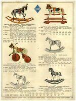 1930 PAPER AD TOYS COLOR German Cebaso Rocking Horse Pedal Drawn Wagon