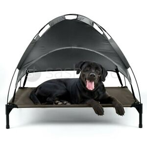 Premium XL Elevated Pet Dog Bed Roof Canopy Cot Portable Raised Washable Camping