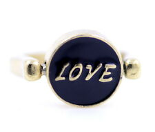 Vintage style rotatable double sided gold black enamel love dream ring UK M US 6