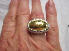 Vintage JOHN HARDY Sterling Silver & 22K YELLOW GOLD Woven HAMMERD Ring Sz 6.5