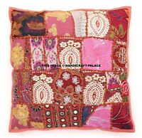"""Indian Patchwork Embroidery Ethnic Bead Work Cushion Cover Cotton Sofa Decor 16"""""""