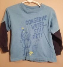 Hybrid Tees Boys Blue Long Sleeve T-Shirt Conserve Water Stay Dirty Size 3T