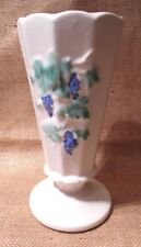 """Vintage McCOY Pottery Vase WHITE WITH WISTERIA? GRAPES? 7"""" VERY GOOD CONDITION"""