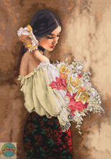 Cross Stitch Kit Gold Collection Classic Beauty Woman w/Bouquet #70-35274