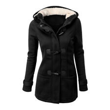 Plus Size Double-breasted Winter Coat Women Wool Jacket Hoody Parka Horn ButtonV
