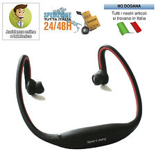LETTORE MP3 SPORTIVO MICRO SD CUFFIE SPORT WIRELESS + Radio FM Integrata